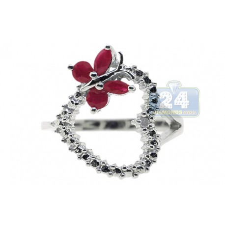 925 Sterling Silver 0.49 ct Ruby Diamond Open Heart Butterfly Womens Ring