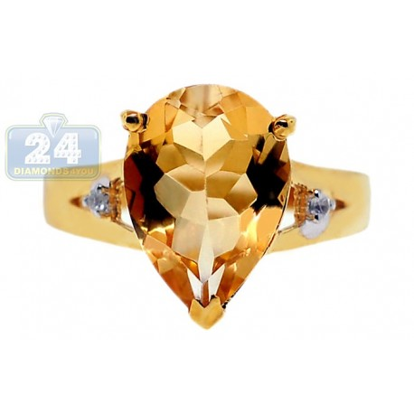 Yellow Gold 925 Sterling Silver 3.77 ct Citrine White Topaz Womens Ring