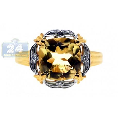 Yellow Gold 925 Sterling Silver 4.10 ct Quartz & Topaz Womens Ring