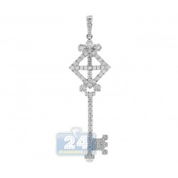 14K White Gold 1.22 ct Diamond Vintage Key Womens Pendant