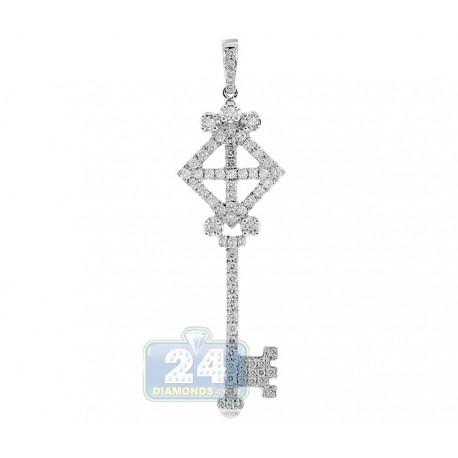 Womens Diamond Vintage Love Key Pendant 14K White Gold 1.22ct