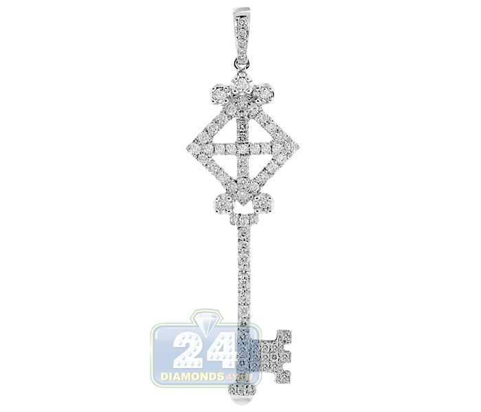 Womens diamond vintage love key pendant 14k white gold 122ct aloadofball Image collections