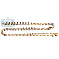 10K Three Tone Gold Womens Fancy Link Chain 18 Inches