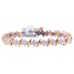 14K Yellow Gold 3.40 ct Diamond Flower Womens Tennis Bracelet