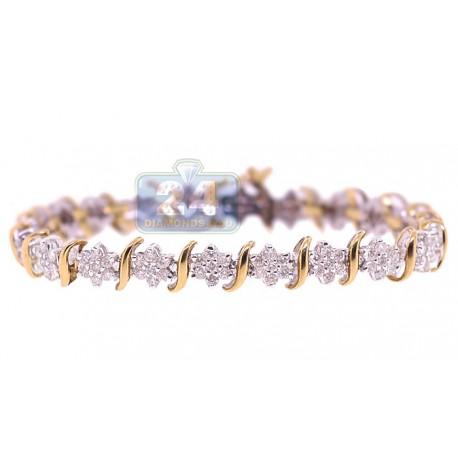 Womens Diamond Flower Tennis Bracelet 14K Yellow Gold 3.40 ct