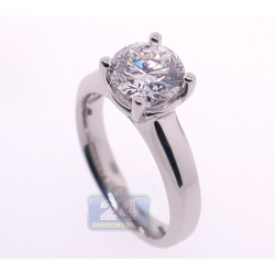 GIA Platinum 2.01 ct Round Cut Diamond Womens Engagement Ring