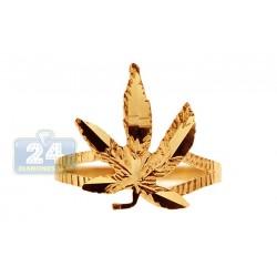 10K Yellow Gold Marijuana Leaf Womens Ring