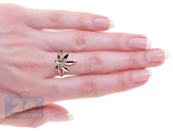 womens marijuana leaf ring 10k yellow gold