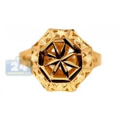 10K Yellow Gold Womens Woven Diamond Cut Signet Ring