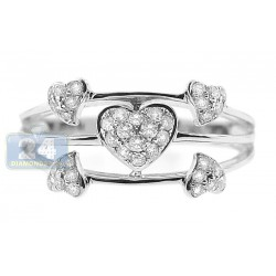 14K White Gold 0.36 ct Diamond Open Multi Heart Womens Ring
