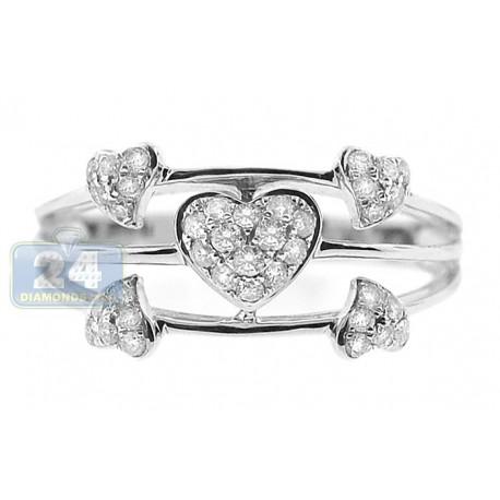 14K White Gold 0.36 ct Diamond Open Multi Heart Womens Ring