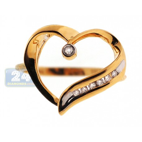 14K Yellow Gold 0.07 ct Diamond Open Heart Womens Ring