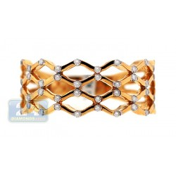 14K Yellow Gold 0.23 ct Diamond Womens Woven Band Ring