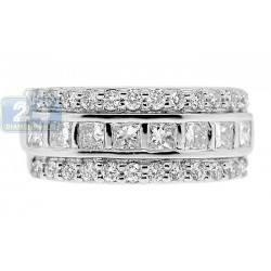 14K White Gold 1.36 ct Diamond Womens Wedding Band Ring