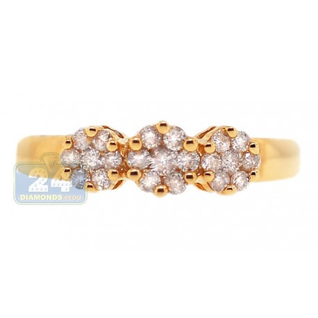 14K Yellow Gold 0.34 ct Diamond Cluster Flower Womens Band Ring