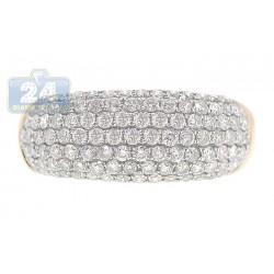 14K Yellow Gold 1.20 ct Pave Diamond Womens Band Ring