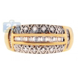 14K Yellow Gold 0.43 ct Diamond Womens Antique Style Band Ring