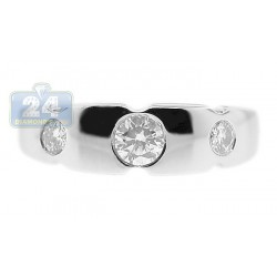 14K White Gold 0.41 ct Bezel Set Diamond Womens Band Ring