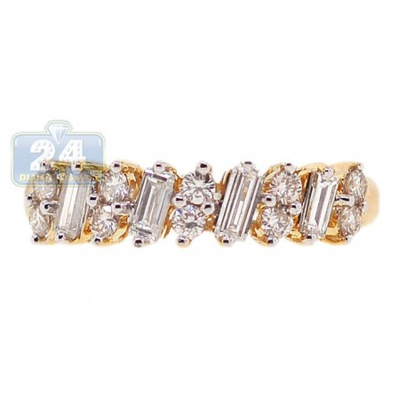 14K Yellow Gold 0.70 ct Mixed Diamond Womens Bridge Band Ring