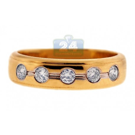 14K Yellow Gold 0.38 ct 5 Bezel Set Diamond Womens Band Ring