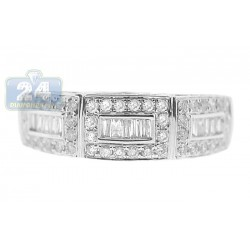 14K White Gold Mixed Baguette Diamond Womens Vintage Ring