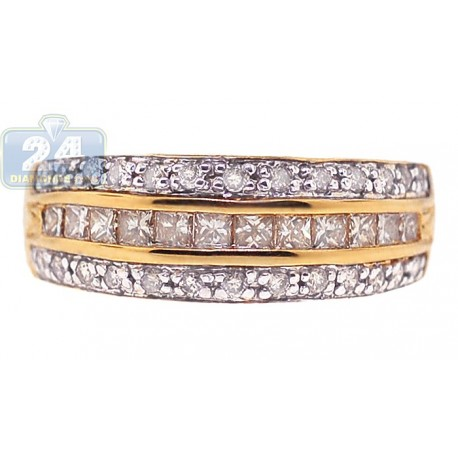 14K Yellow Gold 0.77 ct Round Princess Diamond Womens Band Ring