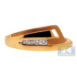 14K Yellow Gold 0.09 ct Diamond Womens Abstract Band Ring