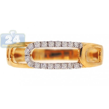 14K Yellow Gold 0.18 ct 2 Row Diamond Open Womens Ring Band