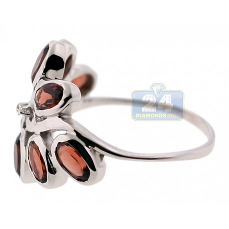925 Sterling Silver 2.80 ct Red Garnet Flower Womens Ring