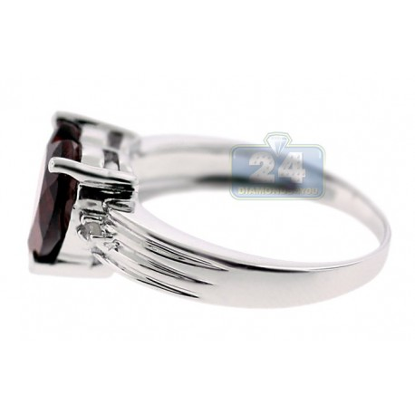 925 Sterling Silver 3.53 ct Garnet Heart Solitaire Womens Ring