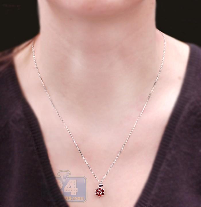 925 sterling silver 060 ct garnet flower pendant womens necklace next aloadofball Choice Image