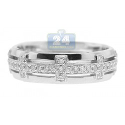 14K White Gold 0.32 ct Diamond Patterned Openwork Mens Ring