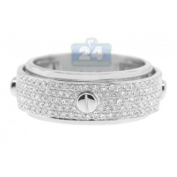 14K White Gold 0.45 ct Diamond Mens Openwork Screw Ring