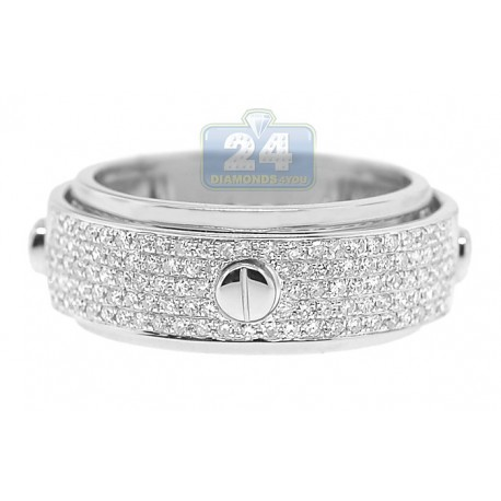 14K White Gold 0.45 ct Diamond Mens Openwork Screw Band Ring