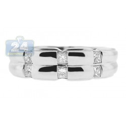 14K White Gold 0.38 ct Princess Cut Diamond Mens Band Ring