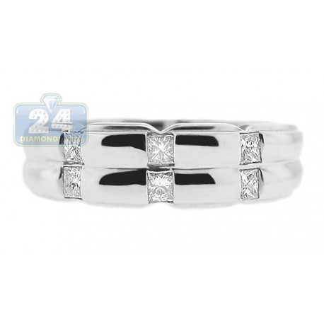 14K White Gold 0.38 ct Princess Cut Diamond Mens Band Ring