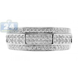 14K White Gold 0.63 ct Multirow Diamond Mens Embossed Ring