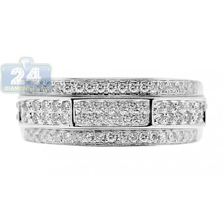 14K White Gold 0.63 ct Multirow Diamond Mens Embossed Band Ring