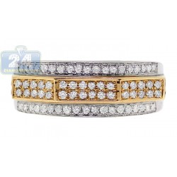 14K Two Tone Gold 0.61 ct 4 Row Diamond Mens Embossed Band Ring