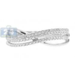 14K White Gold 0.30 ct 3 Row Diamond Womens Criss Cross Band Ring