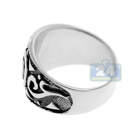 925 Oxidized Sterling Silver Vintage Pattern Womens Band Ring