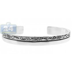 Oxidized Sterling Silver Floral Ornate Cuff Bracelet 7 mm 6 inches
