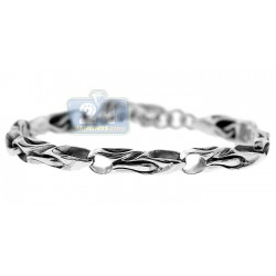 Oxidized 925 Sterling Silver Bullet Link Mens Toggle Bracelet 8 Inches