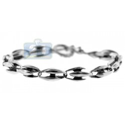 Oxidized Sterling Silver Vintage Link Mens Bracelet 8 Inches