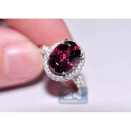 18K White Gold 4.89 ct Pink Tourmaline Diamond Gemstone Ring