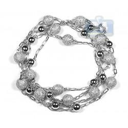 "Mens Diamond Bead Ball Chain 14K White Gold 7.26ct 8mm 35"""