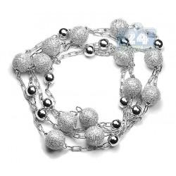 "Mens Diamond Bead Ball Chain 14K White Gold 11.69ct 10mm 33"""