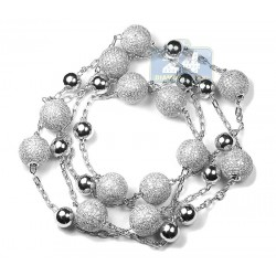 "Mens Diamond Bead Ball Chain 14K White Gold 15.22ct 13mm 35"""