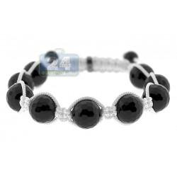 925 Sterling Silver Grooved Black Onyx Bead Adjustable Bracelet