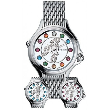 F105036000D1T02 Fendi Crazy Carats Diamond Silver Dial Bracelet Watch 38mm